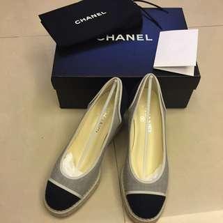 《全新正品》Chanel 2016 春夏機場系列雙色編織楔型鞋