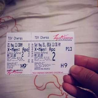 XMen Apocalypse Movie Ticket X1