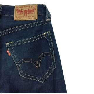 Levi's 901經典藍丹寧三釦牛仔直筒長褲。古著