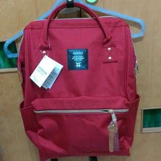 日本手提兩用後背包,大款紅