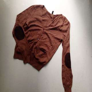 H&M Brown Cardigan With Patched Elbows