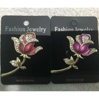 🚚 【Fashion Jewelry】歐美品牌-精漾水鑽玫瑰花胸針(桃紅 色)