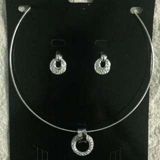 🚚 【DP】水鑽項鍊+耳環組合(泰國購買)