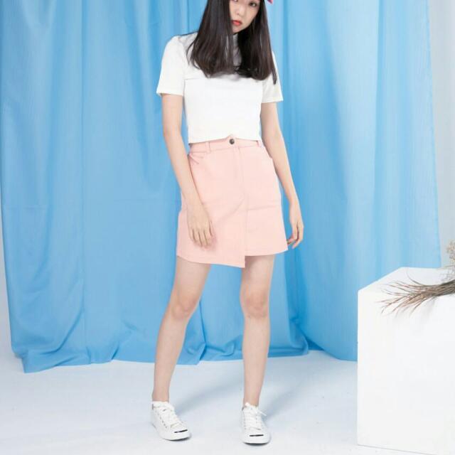 粉色不規則彈力裙