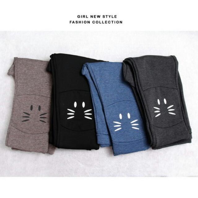 🔥二手☄小貓印圖植絨內搭棉褲☄牛仔藍色