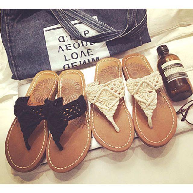亞麻編織甜美拖鞋