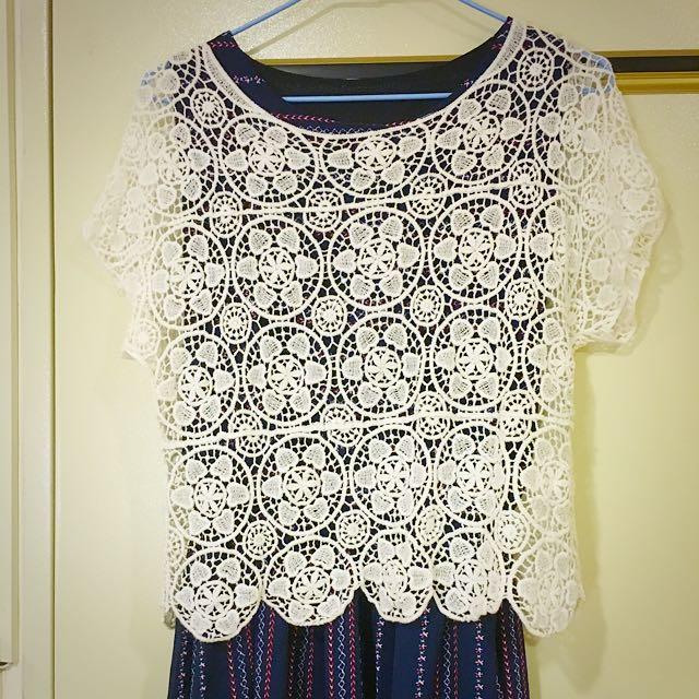 花紋 白罩衫 全新