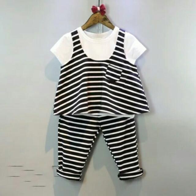 韓版女童 白色短T+條紋背心+條紋長褲三件式套裝