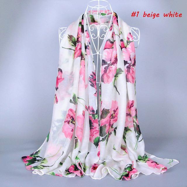 Big Floral Print Scarf / Hijab