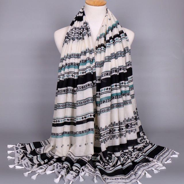 Bohemian Print Tassels  Scarf / Hijab