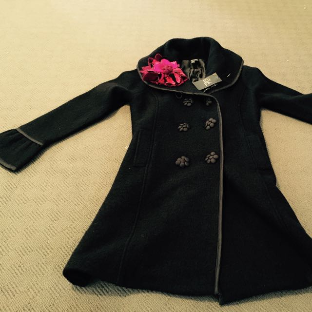 Branded Winter Coat 100% Wool Black RRP $485