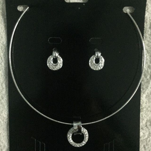 【DP】水鑽項鍊+耳環組合(泰國購買)