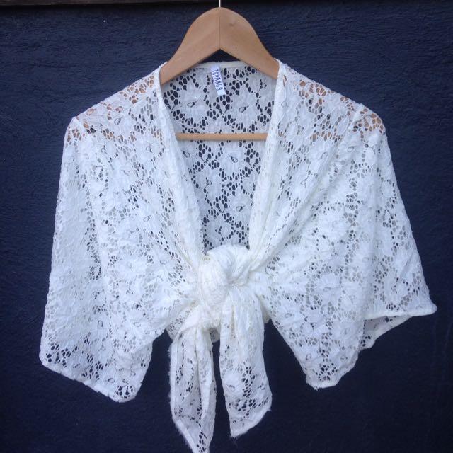 Festival White Lace Detail Kimono/ Top