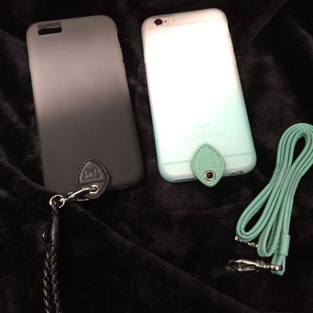 Iphone6 6s手機殼 漸層 掛繩式