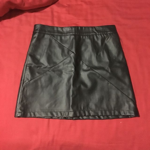 Tightrope Faux Leather Skirt
