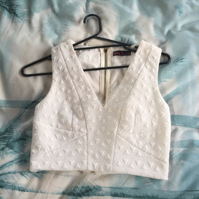 White Low V Crop Top