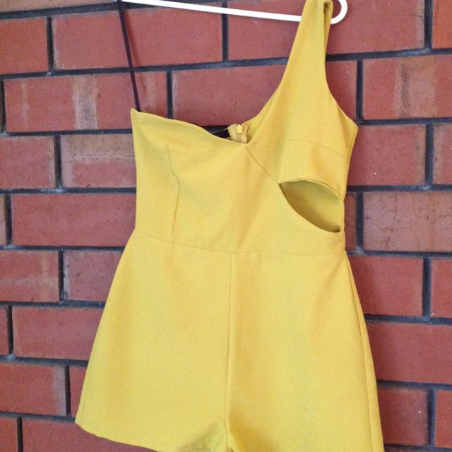 Yellow One Shoulder Playsuit, 8