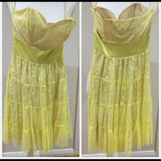 Yellow Lace Tube Dress