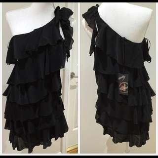 Black One Shoulder Ruffle Layer Dress