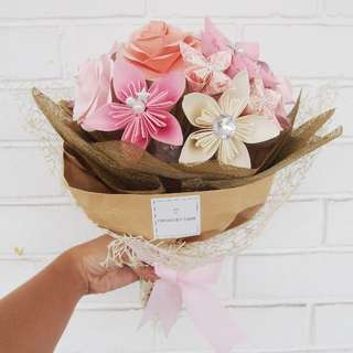 Origami Flower Bouquet (Pink, Peach, Cream)