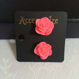 Rose Earring - Pink