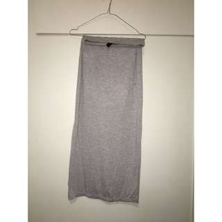 Grey Thigh Split Skirt