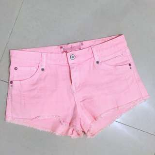 Bershka螢光粉橘牛仔短褲