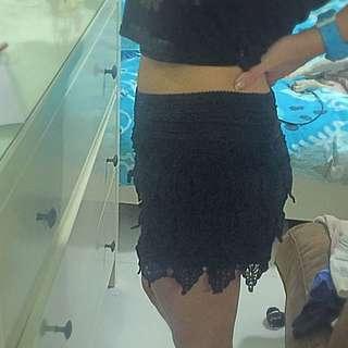 Crochet Black Shorts