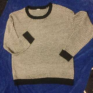 Black And White Patterned Chunk Knit Jumper