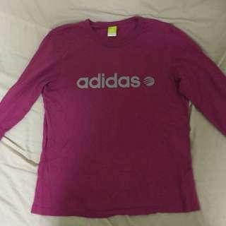 Adidas桃紅長袖T