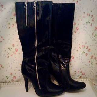 Patent Black Knee High Boots