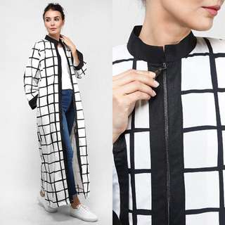 Long Checkered Dress/Cardigan (Window Pane)