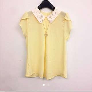 (全新)正韓鵝黃色珍珠上衣
