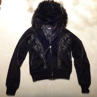 Black Hooded Jacket/Size XS