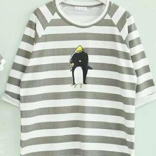韓國企鵝五分袖橫條T恤