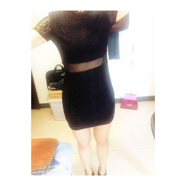 韓製簍空立領蕾絲短洋裝