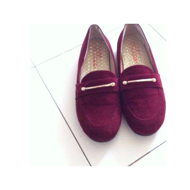 酒紅淑女樂福鞋