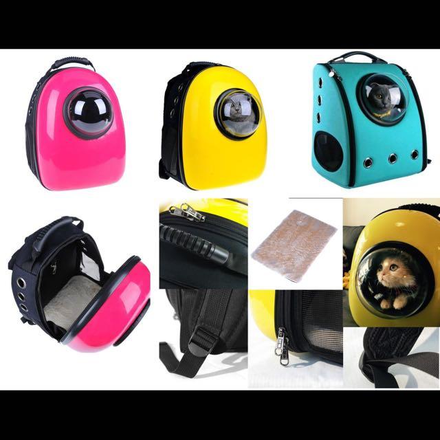 (現貨藍*1)寵物太空艙透氣雙肩外出包