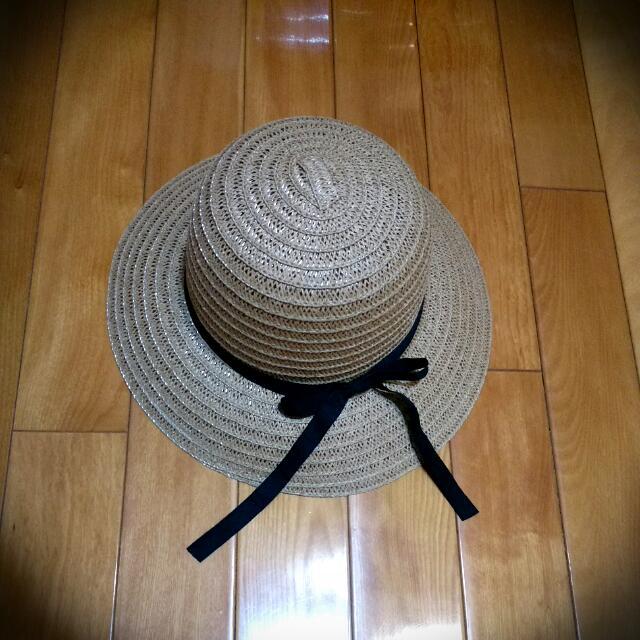 氣質黑色緞帶超防曬草帽【全新】