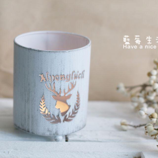 冬日氣氛 鐵製刷白簍空麋鹿燭台