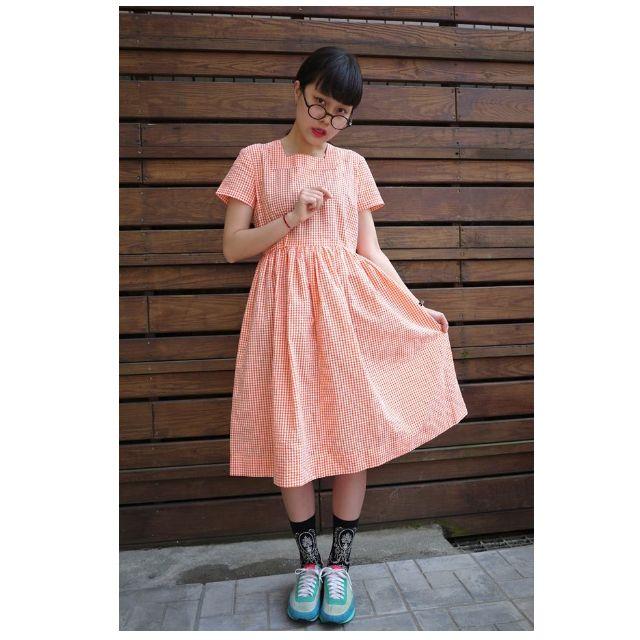 古著 橘色 格子 短袖 洋裝