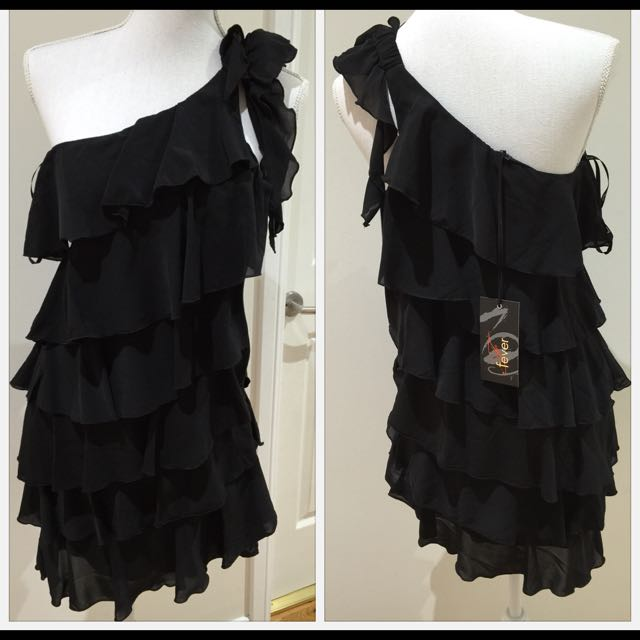 Black One Shoulder Ruffle Layer Dress
