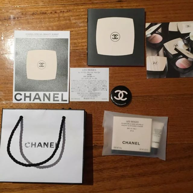 CHANEL Les Beiges Mini No 10 CC BB compact powder & Badge