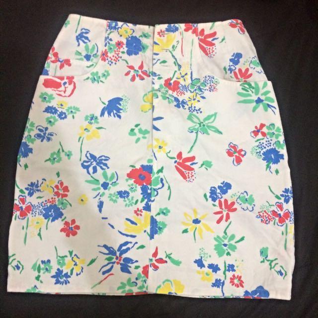 Japan Flowery Paint Splash Mini Skirt