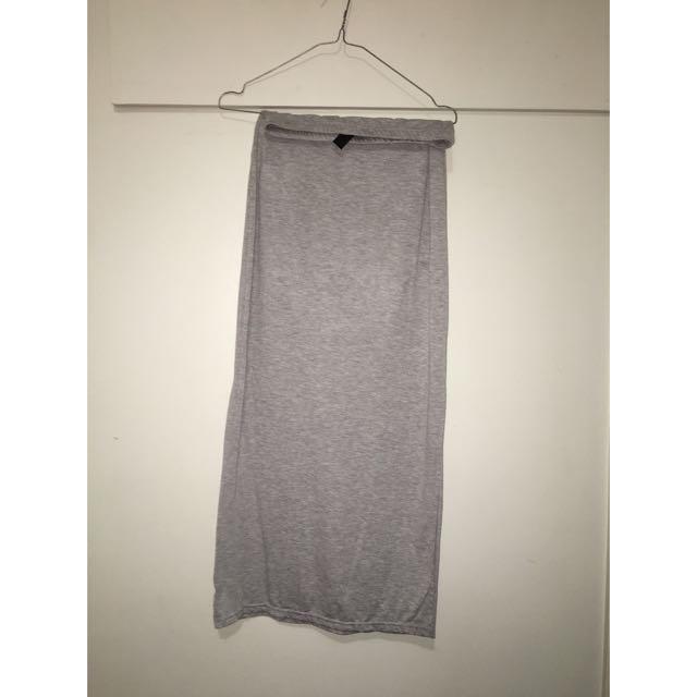 Grey Thigh Split Skirt