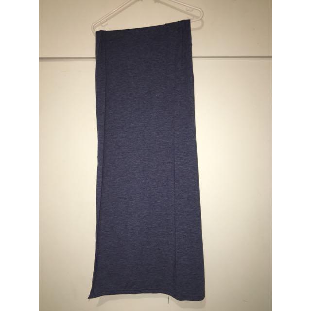 Navy Blue Thigh High Spilt Skirt