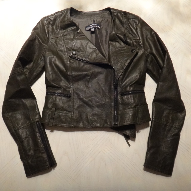 Olive Green Leather Jacket/Size 6
