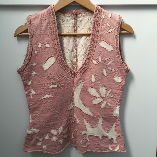 Pink and Cream Appliqué Top