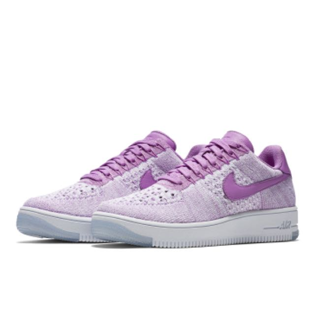 wholesale purple white womens nike air force 1 flyknit low