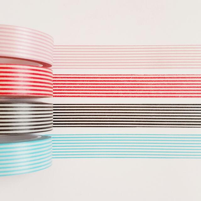 Set of 4 Colored Lines Washi Tape Combo